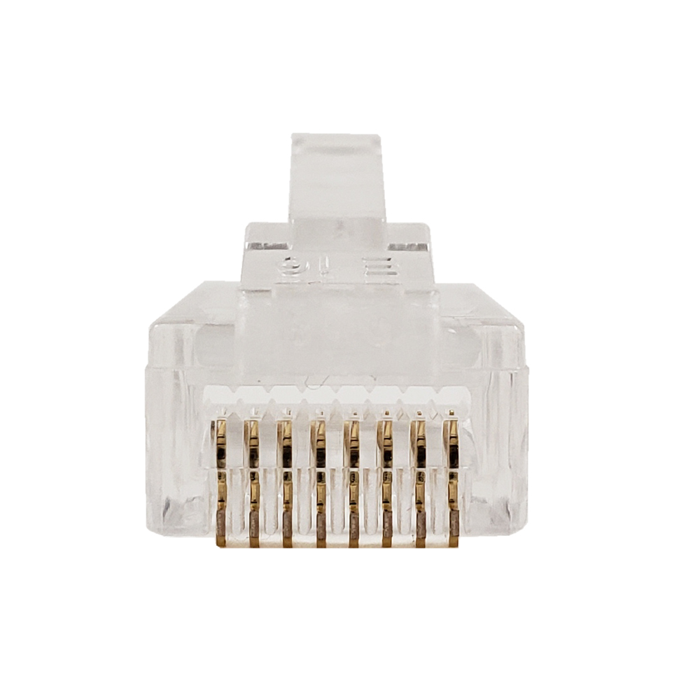 RJ45 CAT5E PASS-THROUGH SOLID OR STRANDED CONNECTORS (50/BAG)