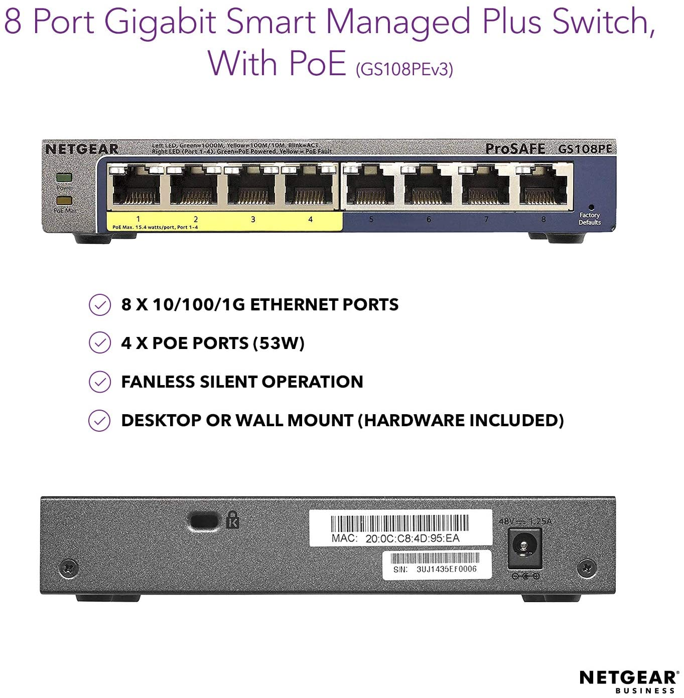 NETGEAR GIGABIT 8 PORT GS108PE POE ETHERNET SWITCH (53W)