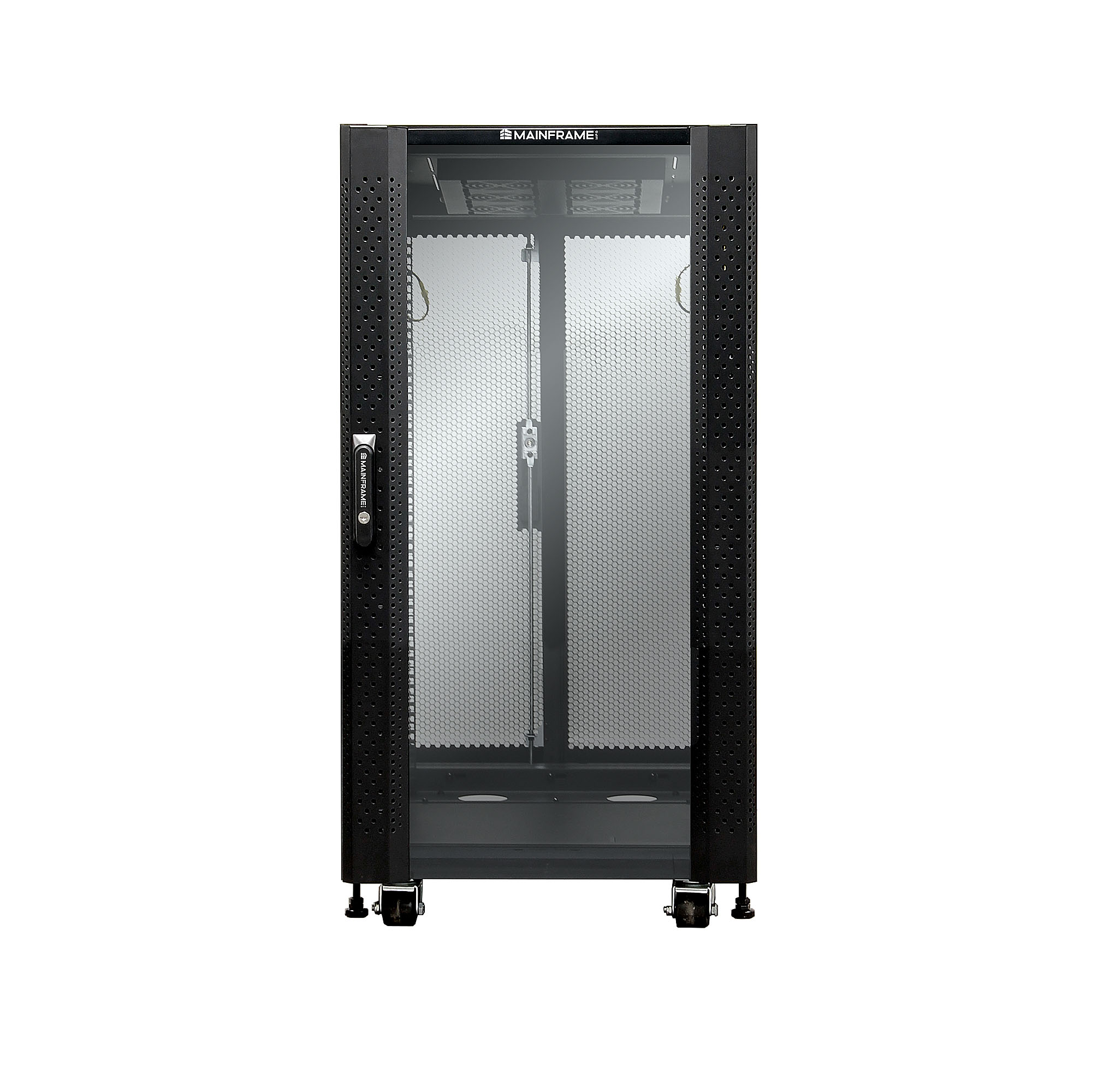 MAINFRAME 22U CLOSED CABINET W/GLASS FRONT & STEEL MESH REAR DOORS