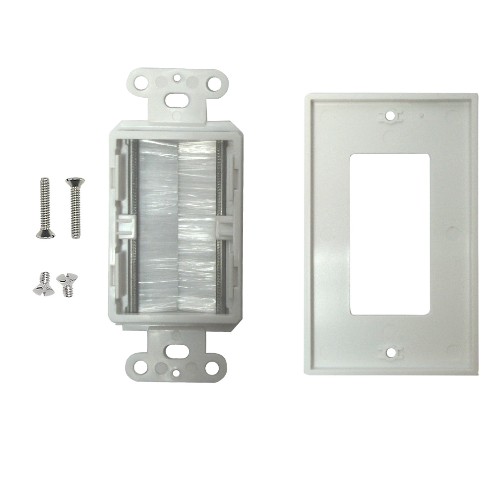 1-GANG BRUSH STYLE CABLE PASS-THROUGH DECORA WALL PLATE - WHITE
