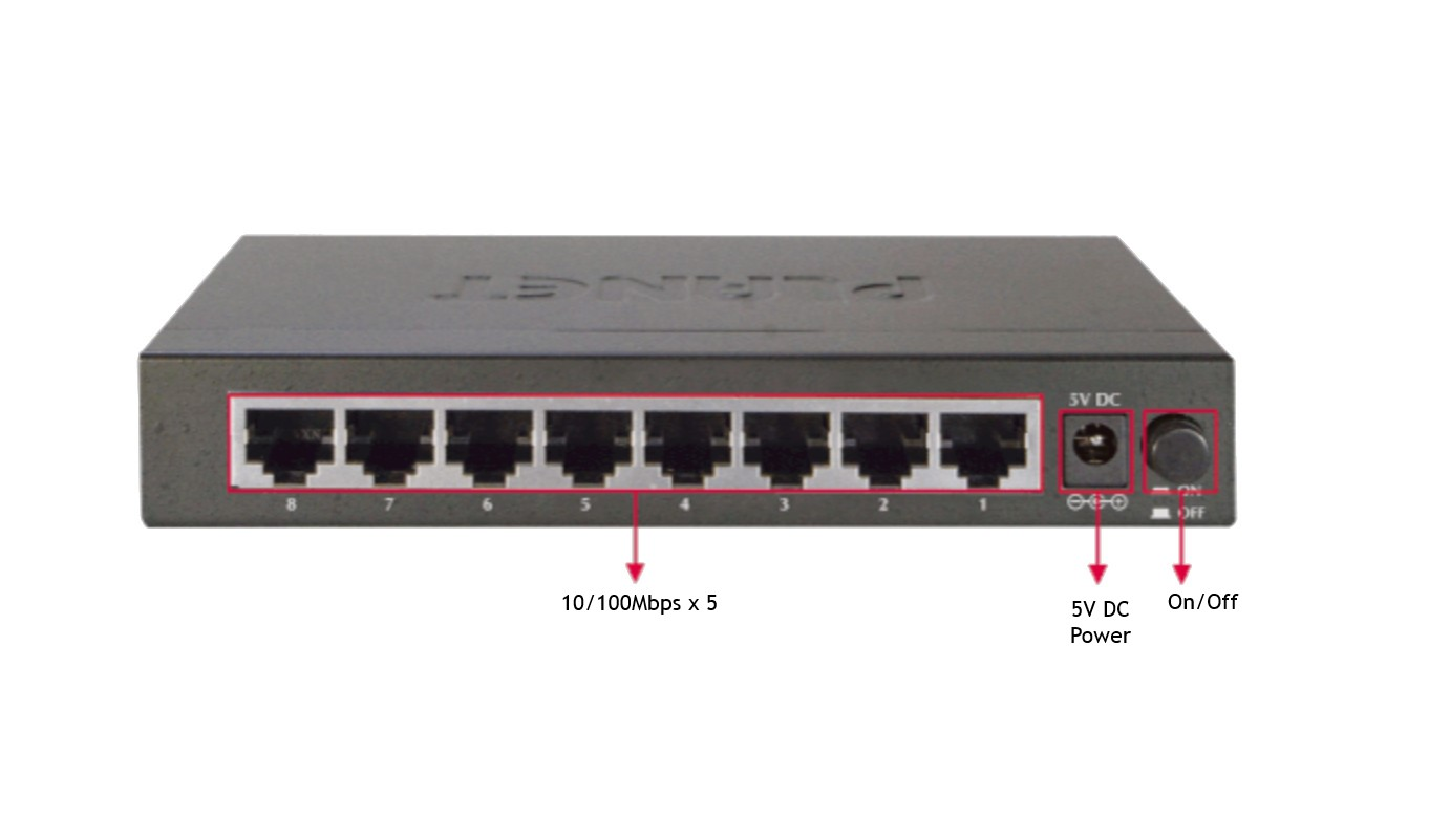 8 PORT 10/100Mbps FAST ETHERNET SWITCH METAL