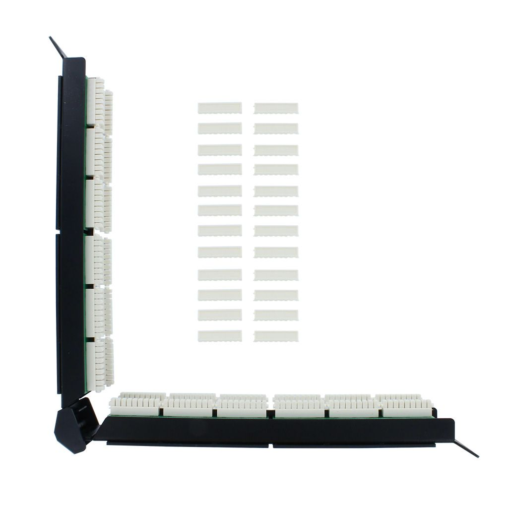 RJ45 CAT5E ANGLED 24-PORT LOADED PATCH PANEL (110 & KRONE)