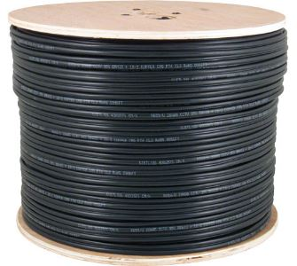 CAT6A 1000' BLACK SOLID UTP CMX OUTDOOR NETWORK BULK CABLE