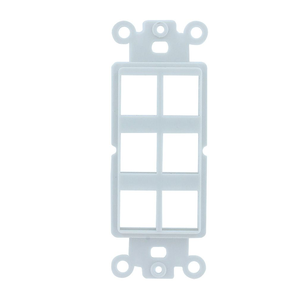 6-PORT DECORA STRAP KEYSTONE INSERT - WHITE