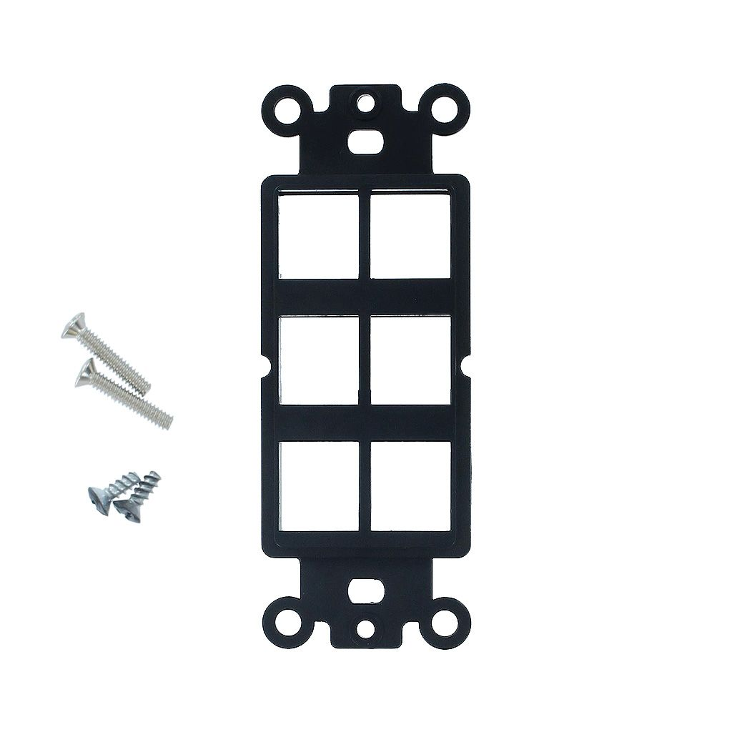 6-PORT DECORA STRAP KEYSTONE INSERT - BLACK