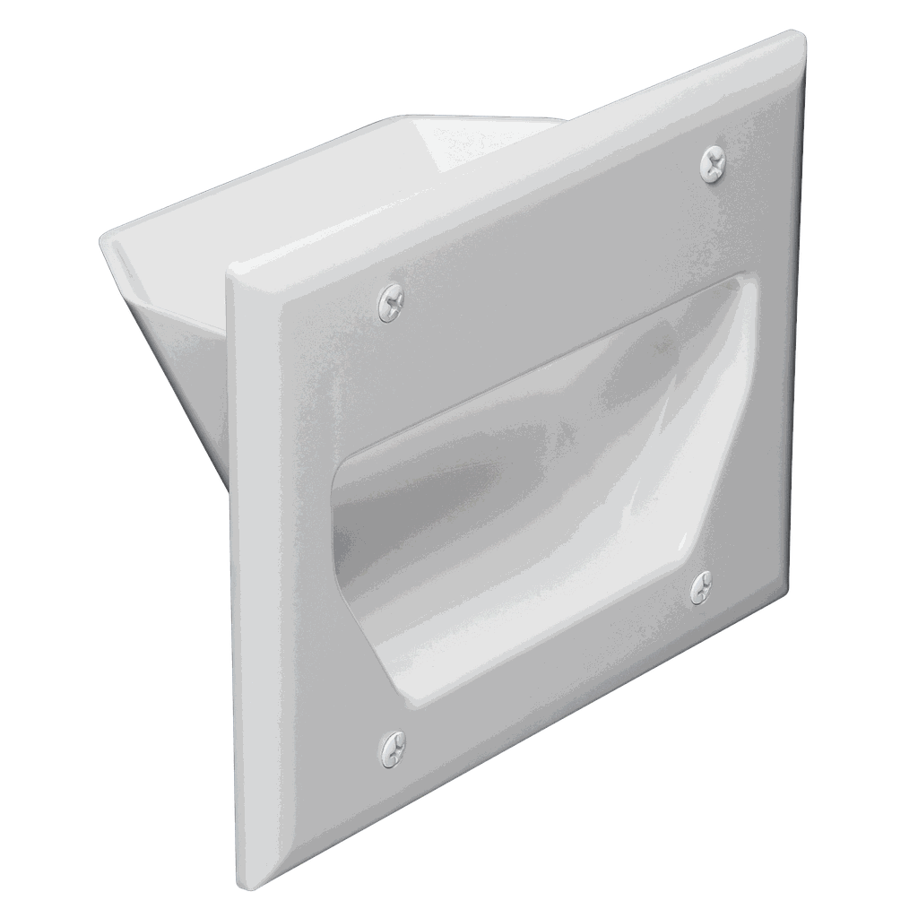 DATACOMM 3-GANG RECESSED WALL PLATE - WHITE