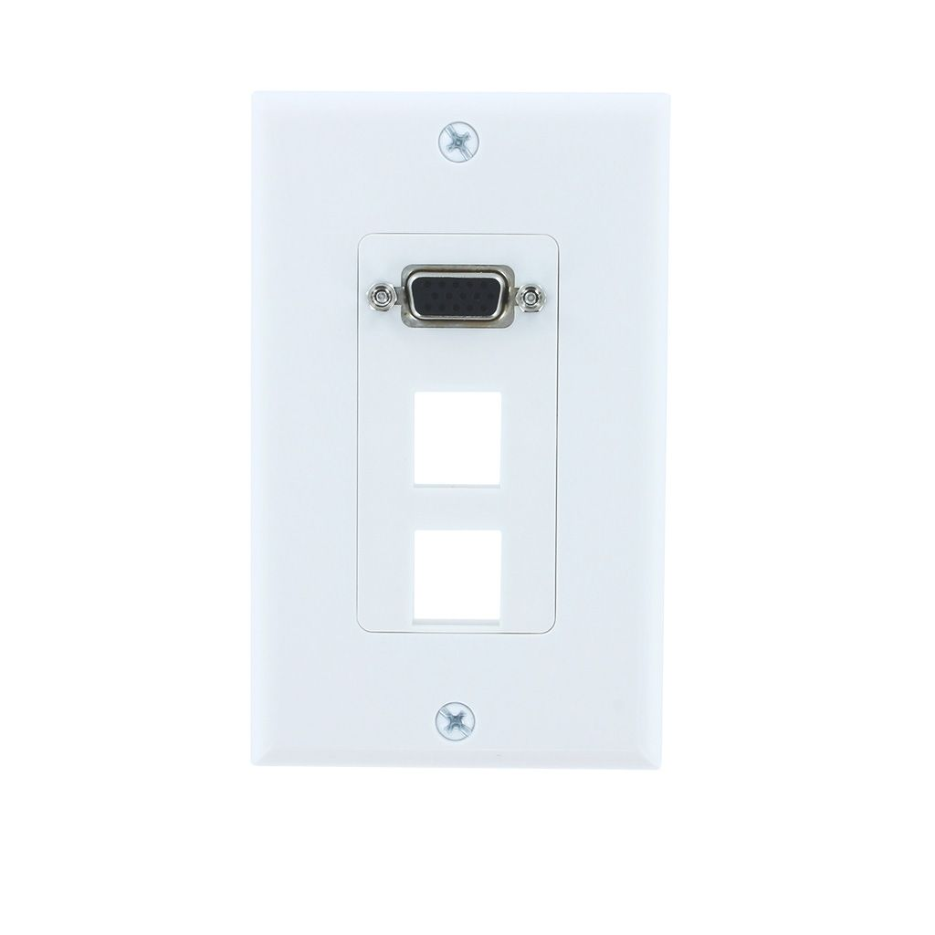 1-PORT VGA + 2-BLANK DECORA WALL PLATE - WHITE