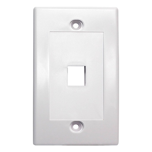[SJ701] 1-PORT PLASTIC KEYSTONE WALL PLATE - WHITE