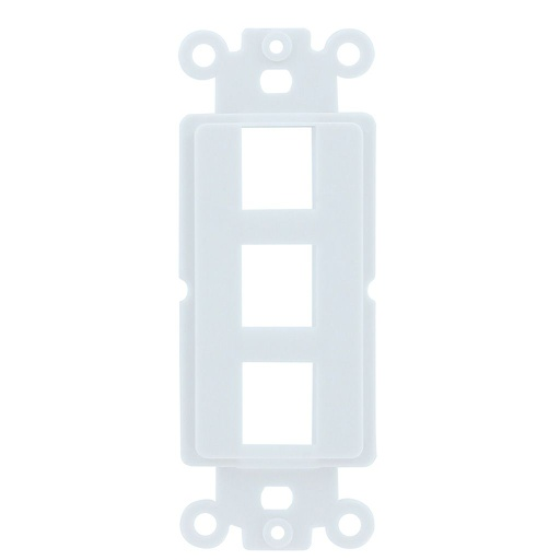 [SJ803] 3-PORT DECORA STRAP KEYSTONE INSERT - WHITE