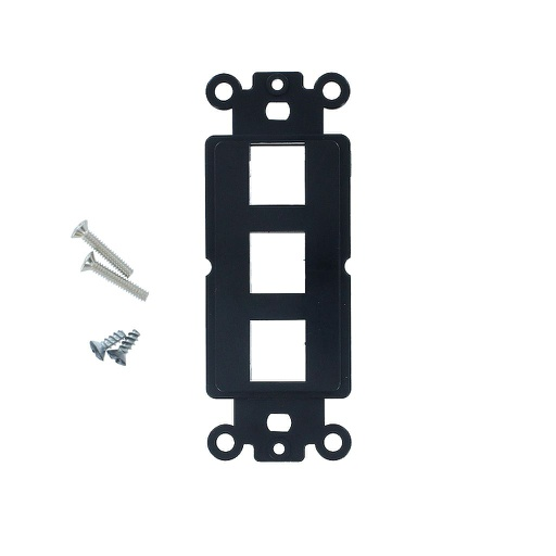 [SJ803BK] 3-PORT DECORA STRAP KEYSTONE INSERT - BLACK