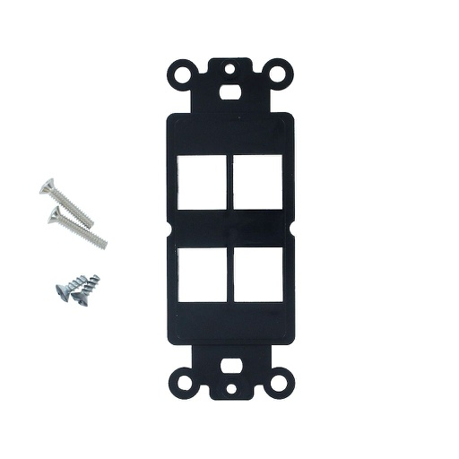 [SJ804BK] 4-PORT DECORA STRAP KEYSTONE INSERT - BLACK