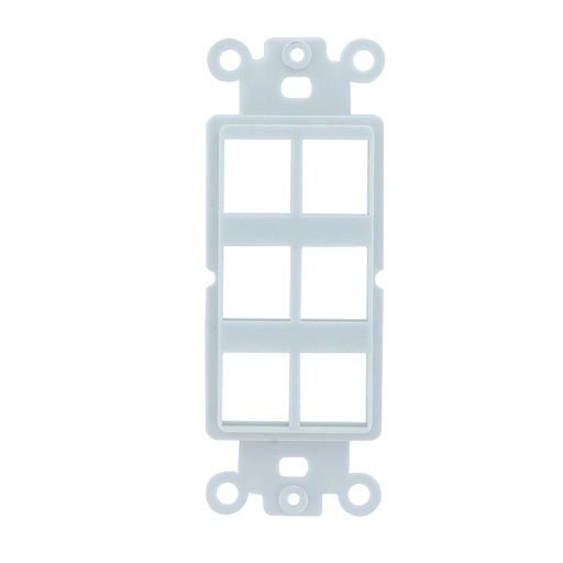 [SJ806] 6-PORT DECORA STRAP KEYSTONE INSERT - WHITE