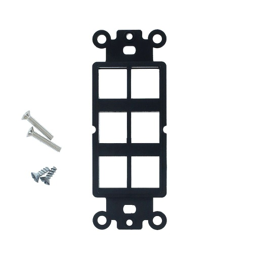 [SJ806BK] 6-PORT DECORA STRAP KEYSTONE INSERT - BLACK
