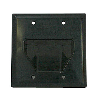 [WP2GBK] DATACOMM 2-GANG RECESSED WALL PLATE - BLACK