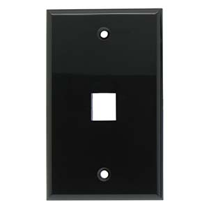 [SJ701BK] 1-PORT PLASTIC KEYSTONE WALL PLATE - BLACK