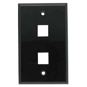 [SJ702BK] 2-PORT PLASTIC KEYSTONE WALL PLATE - BLACK