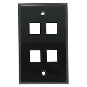 [SJ704BK] 4-PORT PLASTIC KEYSTONE WALL PLATE - BLACK