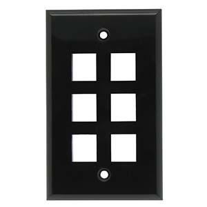[SJ706BK] 	6-PORT PLASTIC KEYSTONE WALL PLATE - BLACK