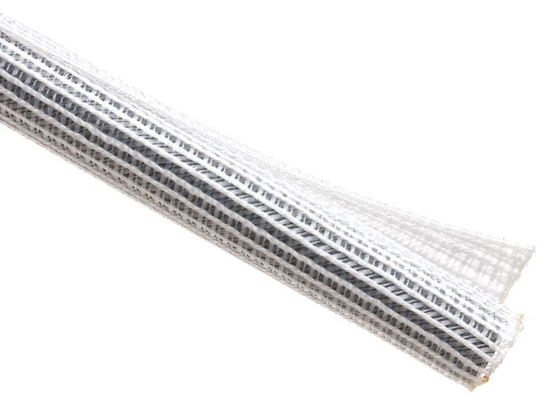 "[TFSW1WH] TECHFLEX F6 SPLIT WRAP BRAIDED SLEEVING 1"" - 50' CLEAR/WHITE"